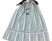 Childs Striped Pillowcase Dress with Minion Embroidery Size 4 to 5