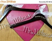 20% OFF SALE Wedding Hangers Engraved Mr and Mrs Hanger Sets Wedding Dress Hangers Personalized Name Hangers Wedding Photo Props Brown Walnu
