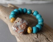 Turquoise, blue, howlite and picture jasper stretch ring
