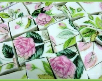 Mosaic Tiles - Shabby Chic Pink Roses - Broken China Mosaic Tiles