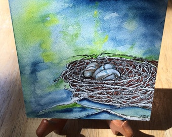 Nest Egg on Watercolor Canvas Original