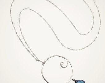 sterling silver WAVE NECKLACE ocean pendant wave pendant ocean charm wave charm wave necklace blue wave jewelry ocean jewelry beach jewelry