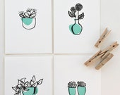 "Potted Plants Art Prints. 4"" x 6"" prints. Black and Teal."