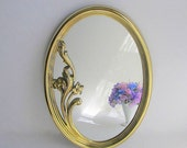 RESERVED LISTING Vintage Gold Mirror, Hollywood Regency Wall Mirror, Oval Hanging Mirror, Bathroom Mirror, Bedroom Mirror