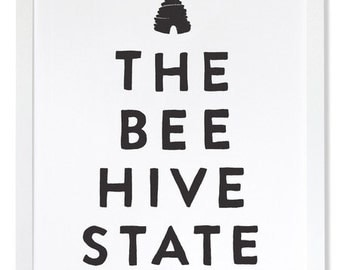 The Beehive State Letterpress Art Print