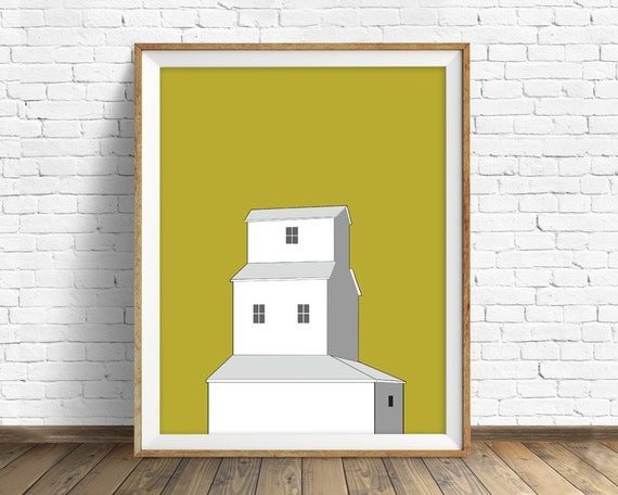 Sunset Grain Elevator - wall art, art print, grain elevator, large art, large wall art, modern, contemporary, wall art prints, yellow, white