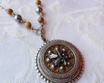 Tulips, Antique Steel Cut Button Necklace with Gold Dust Beads