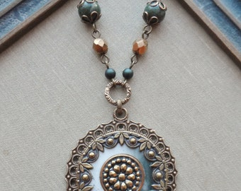 Limerick, Antique Celluloid Button Necklace with Earrings