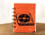 Scarlet Stripes Record Player - One-of-a-Kind Screen-Printed Pocket Journal