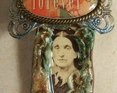 Original Antique CDV Or Cabinet Photo Hand Detailed Forever Pin Pendant Avant Upcycled Brooch Victorian Style Lady Image