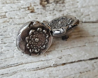 Flower earrings studs limited edition small primitive designer dainty rustic unique artisan tiny recycled silver MARIGOLD