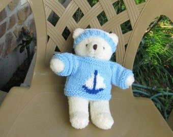 Handmade Teddy Bear Sweater with Sailboat Design and Hat