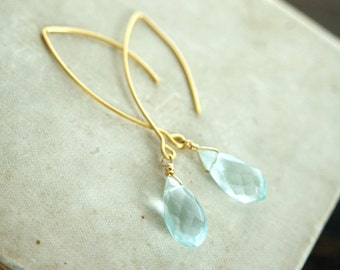 Aqua Quartz Earrings, Briolette Drop Earrings