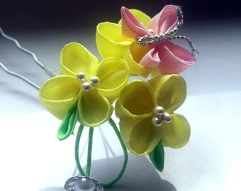 Canola Trio with Pink Butterfly Kanzashi Hairpin