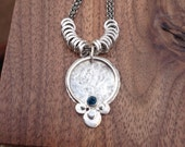 Custom for Samantha Bud Necklace in Sterling with london blue topaz