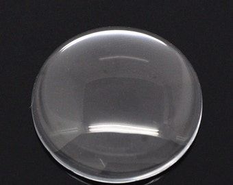 Clear Round Glass Dome Seals 30mm  jewelry scrapbooking findings supplies  blank (DRW400)