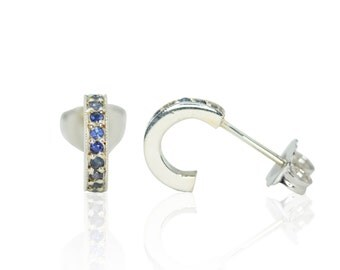 Blue Sapphire Mother's Earrings with Milgrain in 14kt White Gold - September Birthstone - Circlet Collection - LS3015