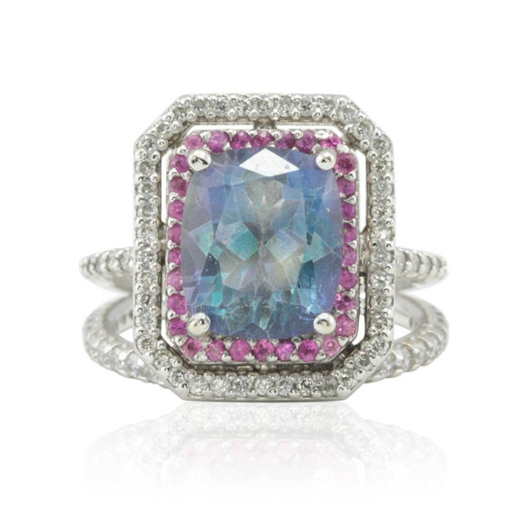 Engagement ring blue topaz ring set with pink sapphire and for Blue topaz wedding ring sets