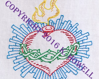 Sacred Heart with Blue Rays Hand Embroidery Pattern
