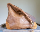 NEW XL Oxford Single///Embossed Camel Brown Leather with Leather Accents ///Fold Over Clutch/// Pouch