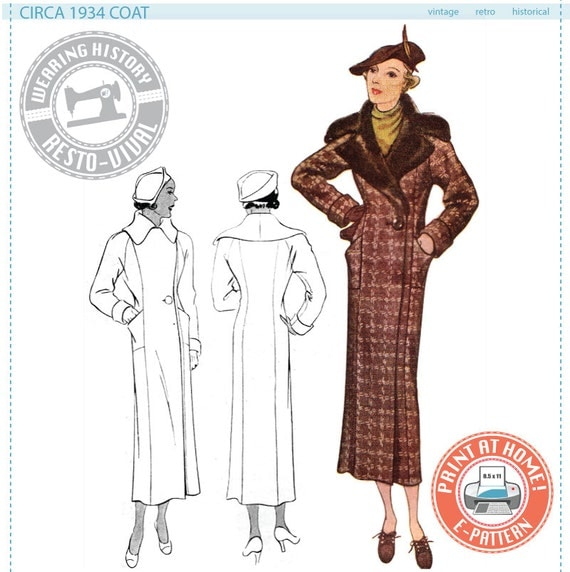 1930s Dresses, Clothing & Patterns Links Circa 1934 Coat Pattern- Bust 36- Wearing History PDF Vintage Sewing Pattern 1930 30s $11.99 AT vintagedancer.com