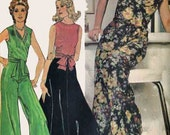 Vintage 70s Pallazo Pants and Surplice Wrap Top Sewing Pattern McCalls 4331 1970s American Hustle Sewing Pattern Size 10 Bust 32.5 UNCUT