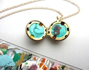 Mini Mermaid Locket, Hand-Painted Necklace, Tiny Secret Art Necklace