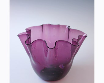 Vintage amethyst ruffled bowl - glass home accent