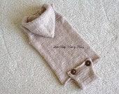 Baby Hoodie Onesie, Vintage Style Onesie, Sleeveless Romper, Newborn Photo Props,