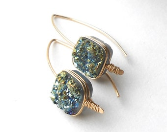 Blue Green Druzy Earrings, Gold Filled Druzy Drop Earrings, Wire Earrings