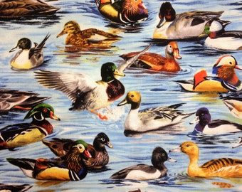 Duck Fabric Mallard Waterfowl Print COTTON 2 yards.