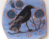 crow calling in periwinkle hand carved ceramic art tile