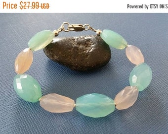 ON-SALE REDUCED - Rose and Aqua Chalcedony Gemstone Bracelet - Was 34.99 Now 27.99