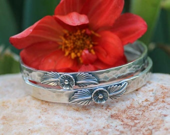 BLOSSOM Hammered Bangle Sterling Silver Bracelet, rustic, artisan, metalwork, handmade, Boho, Bohemian, Gypsy,