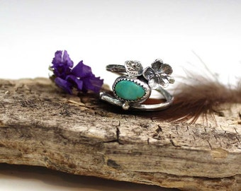 TWIGS & Turquoise Cabochon Sterling Silver Ring, size 8, rustic, artisan, metalwork, handmade, Boho, Bohemian, Gypsy, Cowgirl