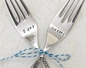 Custom Date Stamped Wedding Fork Set from Girl Ran Away with the Spoon