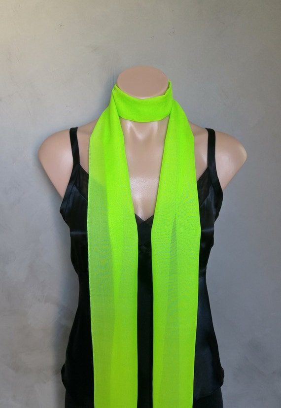 Lime / Neon Green Chiffon Slim Skinny Scarf (71 X 6 inches ) Extra Long Sheer Super Skinny Scarf
