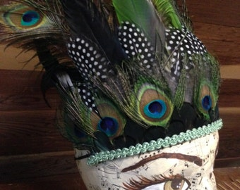 Peacock feather headdress, with green parrot feathers, cruelty free feathers