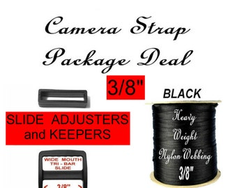 Camera Strap Package Deal - Strap Adjuster, 3/8 inch, 100 Slides  and 100 Keepers AND 50 Yards, Heavy Nylon Black Webbing