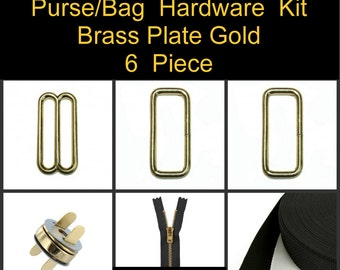 "1 SET - 1"" - 6 Piece Kit - BRASS Plate GOLD - Metal Handbag Purse Hardware - Slide, Rings, Zipper, Webbing and Magnetic Snap"