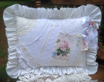 Shabby Cottage Lace Pillow Romantic Pink Rose
