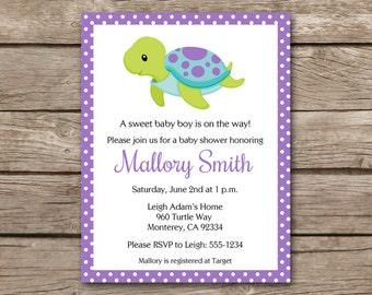 PRINTABLE Sea Turtle Invitation, Sea Turtle Baby Shower Invitation, Sea Turtle Birthday Invitation, Under The Sea Invitation