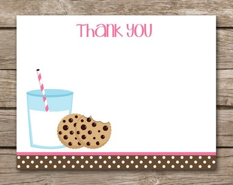 Milk And Cookies Thank You Cards - Girl - Pink - Birthday - Party - INSTANT DOWNLOAD