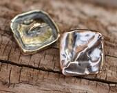 Square Button Sterling Silver, Artisan Button Clasp