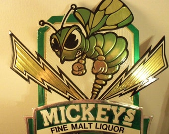 Vintage Mickeys Fine Malt Liquor Beer Ale Sign Calendar 1983 The Mean Green Bee