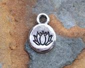 2 Antique Silver Itsy Spiritual Lotus Charms, Nunn Designs 12.7 x 9.1mm