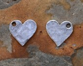2 Antique Silver Hammered Flat Tag Mini Heart Charms  - 12mm - Nunn Designs - Low Shipping