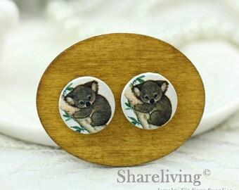 Buy 1 Get 1 Free - Koala Baby Wood Cabochon, Koala Wooden Button, 12mm 15mm 20mm  Round Handmade Photo Wood Cut Cabochon -- HWC038K