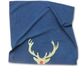 SALE - Navy Blue and Gold Antler Dish Towel / Gifts under 25 / Boho Christmas / Gifts under 20 / Rudolph Tea Towel / Metallic Home Decor