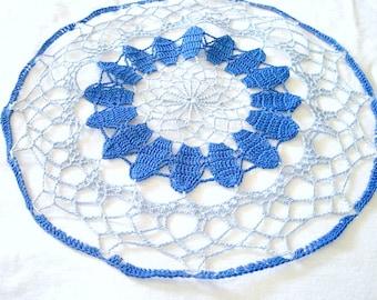 "Medium - Dark Blue Light Blue Colored Hand Crocheted Round Doily 13.5"""
